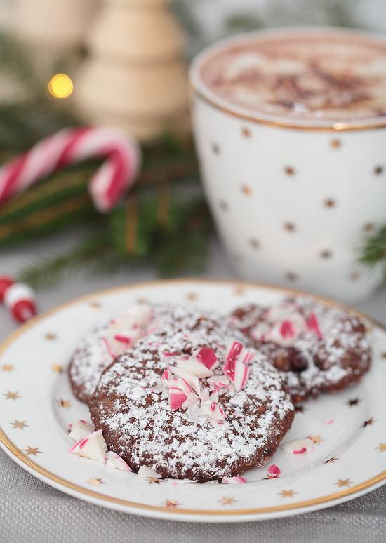 Chocolate Candy Cane Cookies Schokoladen Kekse Haselnüsse
