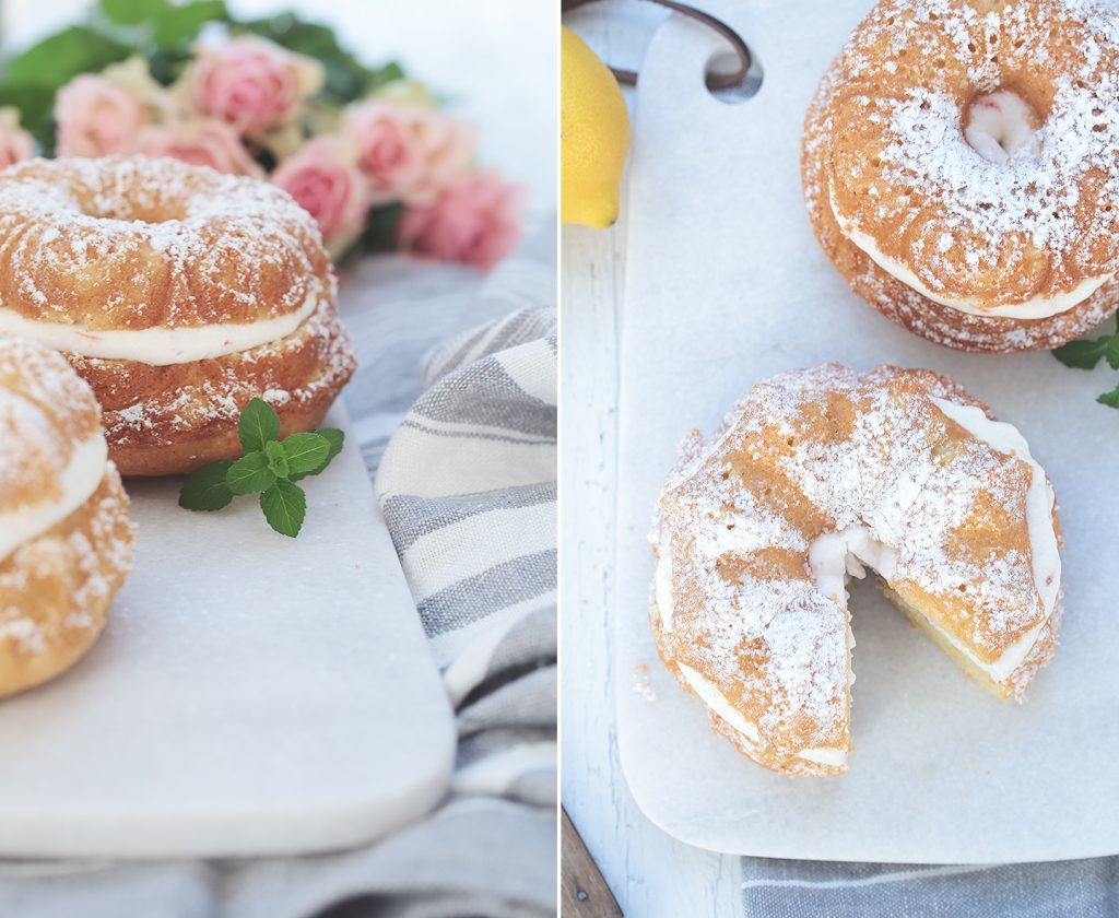 Saftiger Zitronenkuchen gefüllt mit Erdbeersahne