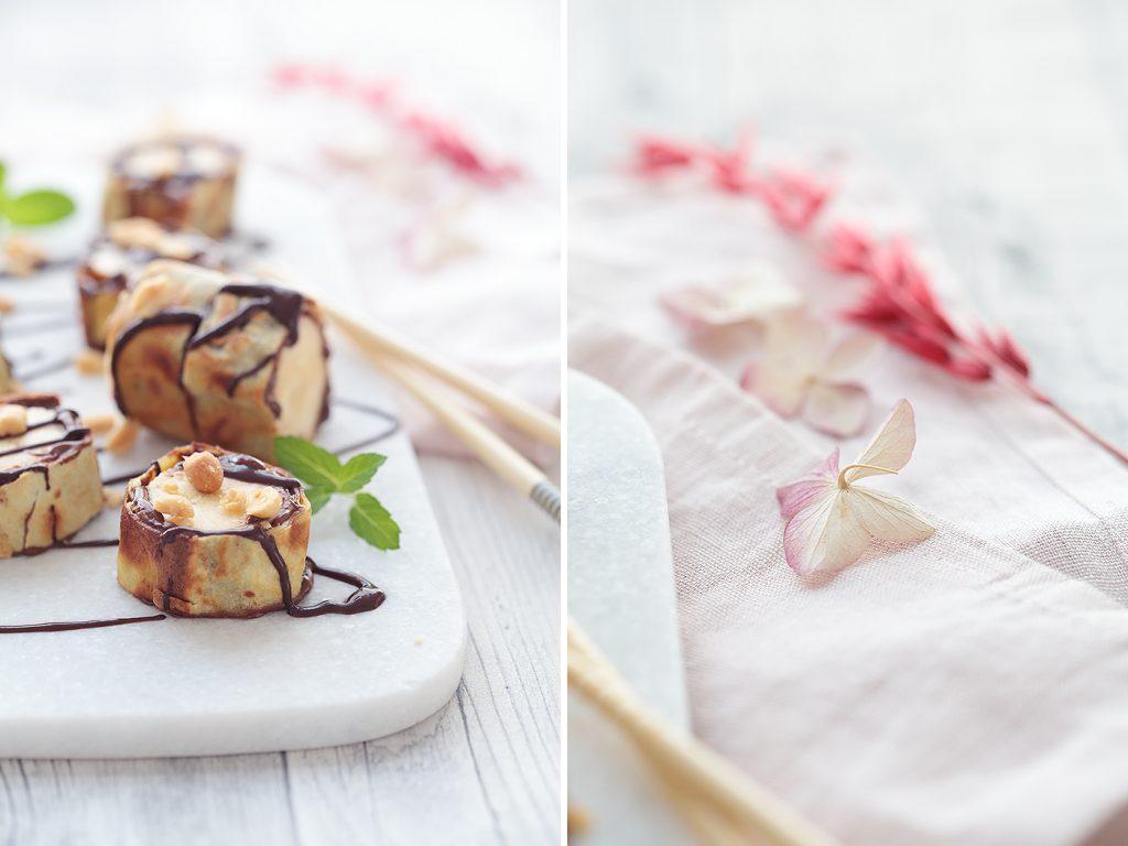 Bananen-Sushi mit Schokolade