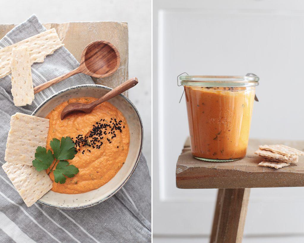 Hummus mit gerösteter Paprika und Petersilie