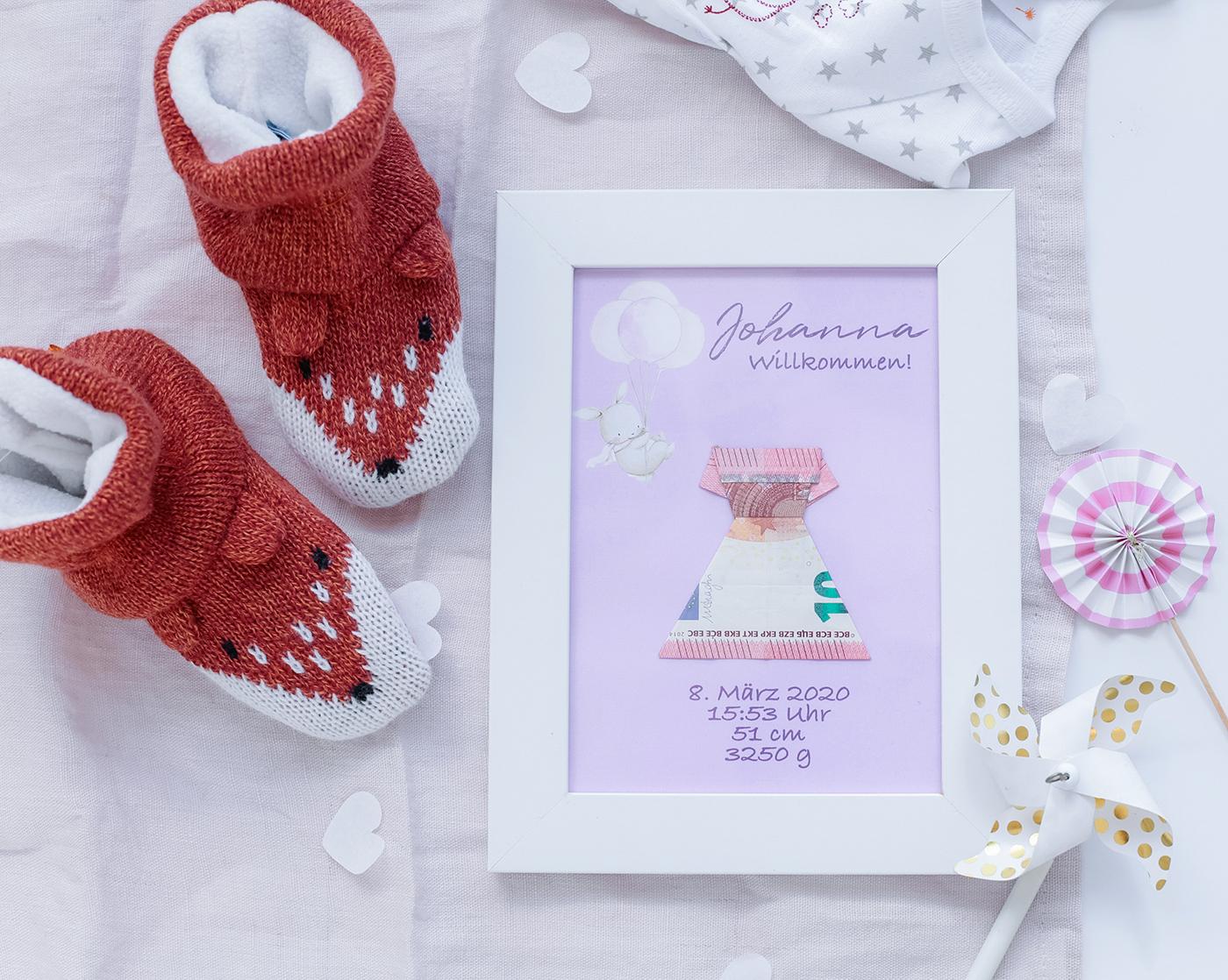 Geldgeschenk zur Geburt, Taufe oder Babyparty
