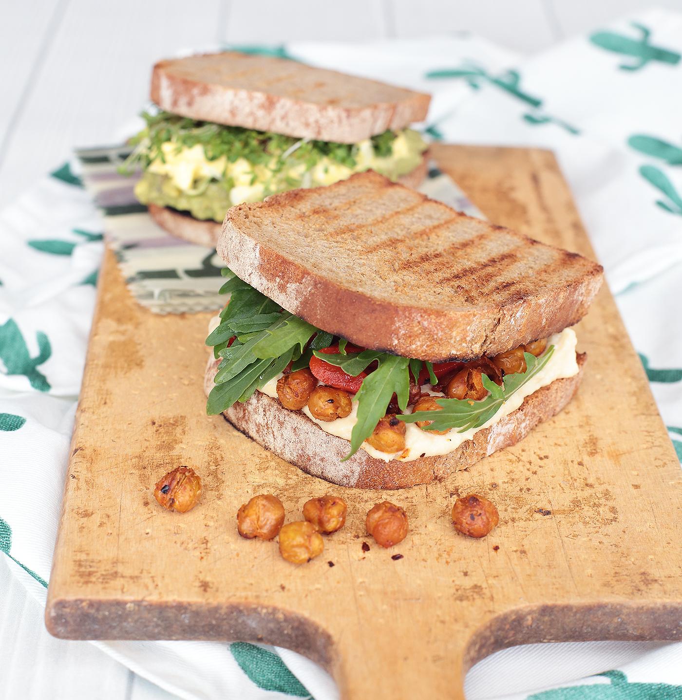 Stulle Brot Avocado Eiersalat Kichererbsen Hummus