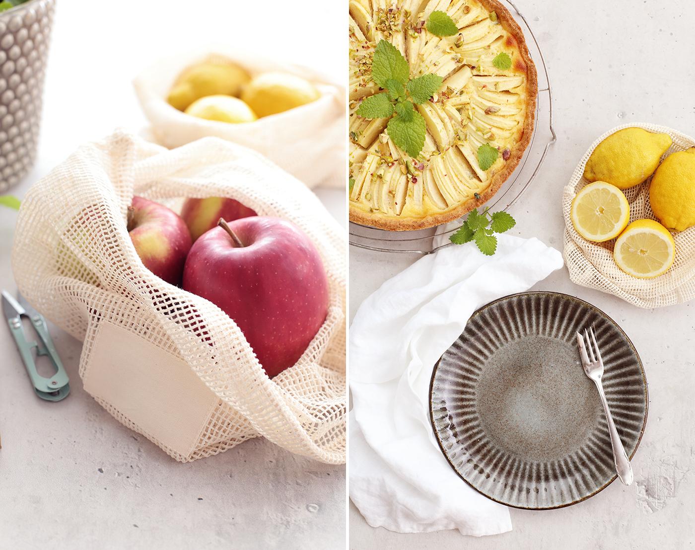 Apfeltarte mit Zitrone und Melisse