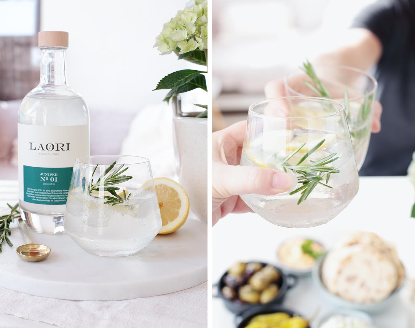 Feierabend-Tapas und dazu einen alkoholfreien Gin Tonic von Laori Juniper
